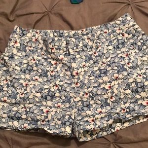 Blue and white flower shorts